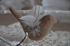 Dekorácie - Vtáčik béžový - 9267774_