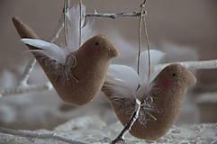 Dekorácie - Vtáčik béžový - 9267775_