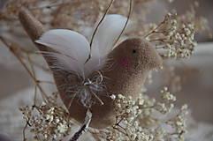Dekorácie - Vtáčik béžový - 9267776_