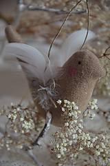 Dekorácie - Vtáčik béžový - 9267777_