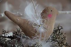 Dekorácie - Vtáčik béžový - 9267778_