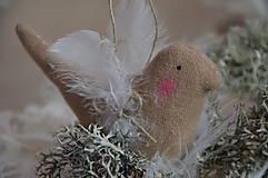 Dekorácie - Vtáčik béžový - 9267780_