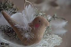 Dekorácie - Vtáčik béžový - 9267781_