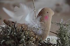 Dekorácie - Vtáčik béžový - 9267782_