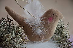 Dekorácie - Vtáčik béžový - 9267783_
