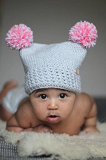 Detské čiapky - Čiapka Pompom- šedo-rúžová - 9267325_