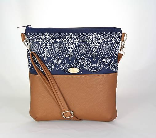 Modrotlačová kabelka Dara hnedá 5