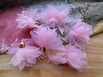 - Textilné kvety - pár (viac druhov) (Ružové organzové kvety) - 9268140_