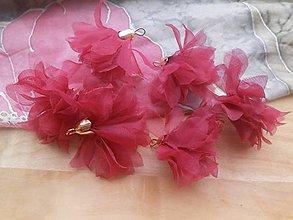 Polotovary - Textilné kvety - pár (viac druhov) (Bordové organzové kvety) - 9268123_