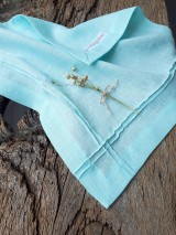 Úžitkový textil - Ľanový obrúsok Obsession Mint - 9267756_