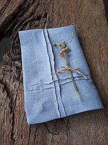 Úžitkový textil - Ľanový obrúsok Obsession Greyish Blue - 9267678_