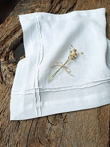 Úžitkový textil - Ľanový obrúsok Obsession White - 9267821_