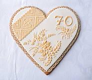Dekorácie - Medovníkové srdce Sedemdesiatnika - 9272272_