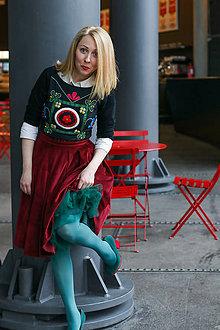 Sukne - Skládaná sukně MEGAN, červený samet - 9273824_