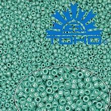 Korálky - Toho Rokajl 11/0 Opaque-Lustered Turquoise č.132 25g - 9269894_