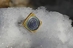 Prstene - prsteň modro zelená špirálka - 9270682_