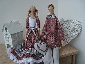 Bábiky - Bordovo-sivý párik na želanie - 9272693_