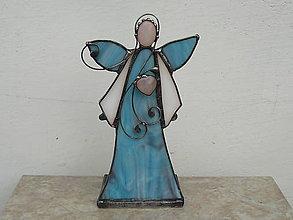 Svietidlá a sviečky - Blue angel - svietnik - 9270674_