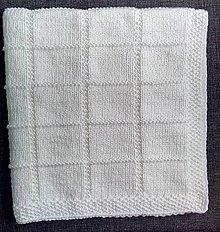 Textil - Biela detská pletená deka na krst - 9271464_