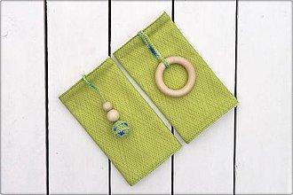 Detské doplnky - Slintáčiky harlekýn - návleky na ergonomický nosič (Zelený harlekýn) - 9273829_