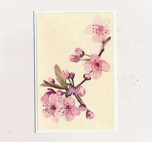 Ručne maľovaná pohľadnica - Rozkvitnutá vetvička