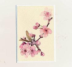 Papiernictvo - Ručne maľovaná pohľadnica - Rozkvitnutá vetvička - 9272016_