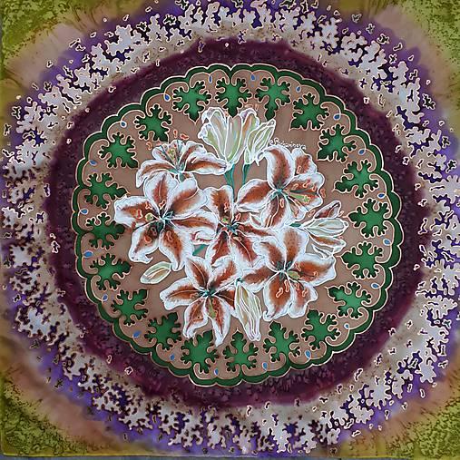 Pobrežie ľalií-hodvábna maľovaná šatka