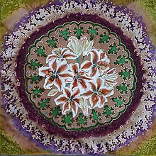 Šatky - Pobrežie ľalií-hodvábna maľovaná šatka - 9272544_