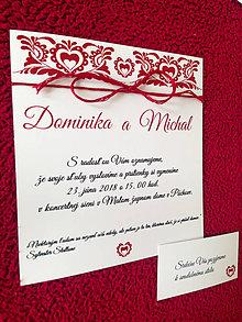 Papiernictvo - Folk ľudové svadobné oznámenie červené - 9272294_