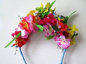 Ozdoby do vlasov - pestrofarebná parta - kvetovaná čelenka - 9271808_