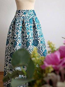 Sukne - slávnostná sukňa Smaragdový ornament - 9273407_