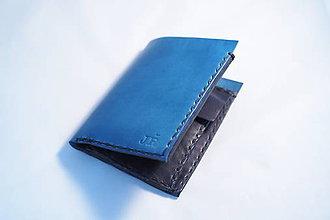 Peňaženky - Pánská kožená peňaženka -modrá-černá s monogramem - 9272581_