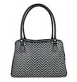 Ručne vyšívaná kabelka z pravej kože v čiernej farbe - šedé vyšívanie