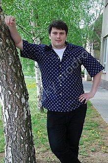 Oblečenie - Pánská košile s krátkým rukávem MODROTLAČ_vzor na přání - 9270569_