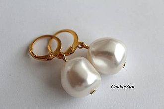 Náušnice - Swarovski Pearls Irregular White 15mm - 9273882_