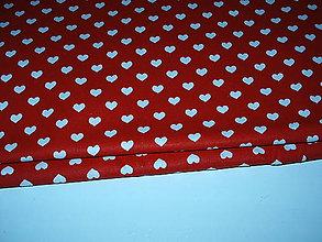 Textil - srdiečka na červenej - 9273472_