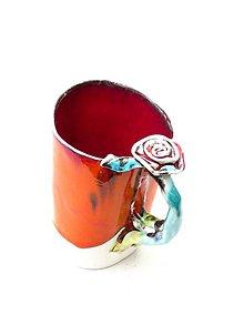 Nádoby - šálka, hrnček  veľká XXL oranžová s ružou - 9269154_