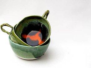 Nádoby - šálka , hrnček,  zeleno oranžová - 9269199_