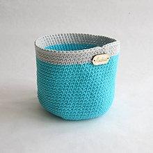 Košíky - Háčkovaný košíček - zelenkavo sivý - 9273514_