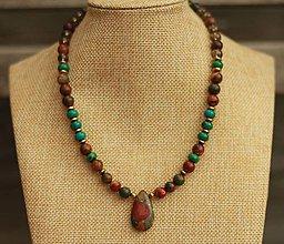 Náhrdelníky - Náhrdelník z minerálu jaspis, chryzokol a záhneda - 9269030_