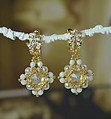 ZĽAVA 70 %  Svadobné náušnice bielo-zlaté, Swarovski, mosadzné zapínanie