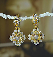Náušnice - Svadobné náušnice bielo-zlaté, Swarovski, mosadzné zapínanie - 9272124_