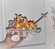 Dekorácie - Veľkonočná dekorácia so zajačikom na vozíku - 9277086_