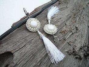 Náušnice - Náušnice Svadobné strapcové biele - 9277253_