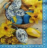 Papier - S1182 - Servítky - Veľká noc, kraslica, narcis, modrotlač, tulipán - 9275240_