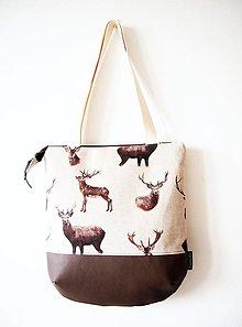 Veľké tašky - Veľká režná taška na plece - jelene - 9277682_