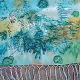 Šály - Tajomstvá stromov-hodvábny maľovaný šál - 9278653_