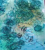 Šály - Tajomstvá stromov-hodvábny maľovaný šál - 9278703_