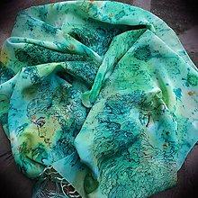 Šály - Tajomstvá stromov-hodvábny maľovaný šál - 9278650_