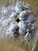 Dekorácie - SADA 6 ks - vajíčka s jemnými modrými ružičkami - 9278489_
